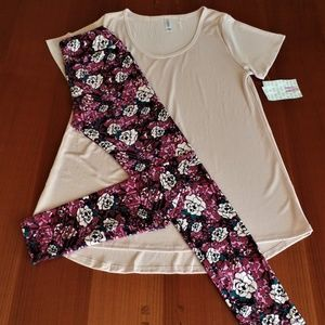 LULAROE OUTFIT! M-CLASSIC-T TOP with OS- LEGGINGS
